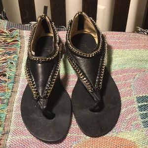 Guiseppe Zanotti black leather sandals 38